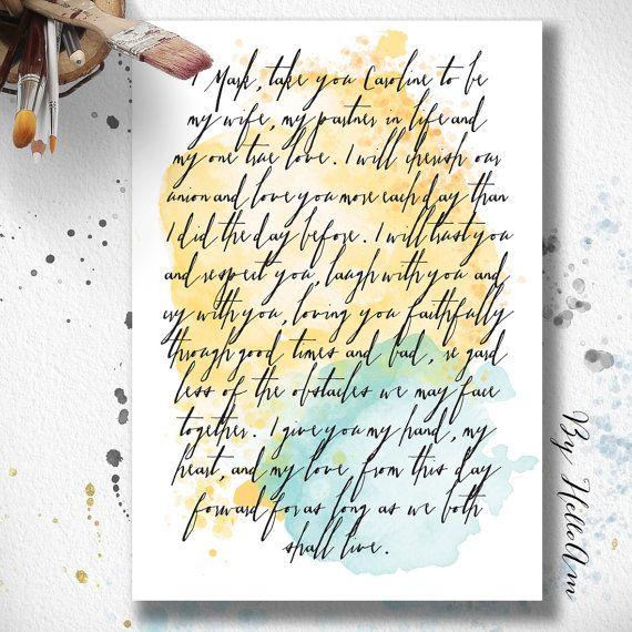 1st Anniversary Gift, Wedding vows, wedding vow art, 1st anniversary ...