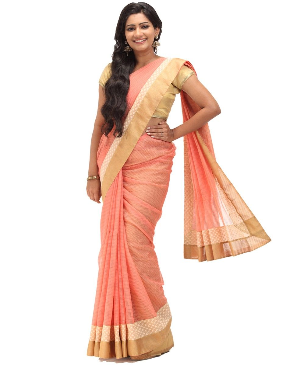 Wedding White Sarees Online: Peach N Golden Self Checks Net Kota Saree