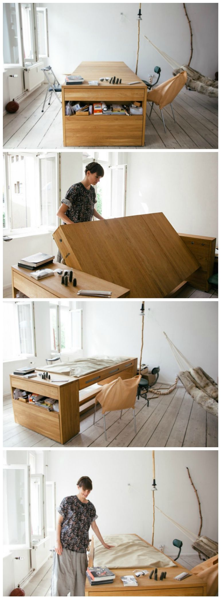 Space Saving Idea: A Desk That Transforms into a Bed | Organizing ...