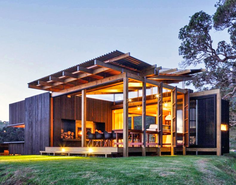 New zealand beach house transforms into an open aired for Beach architecture design