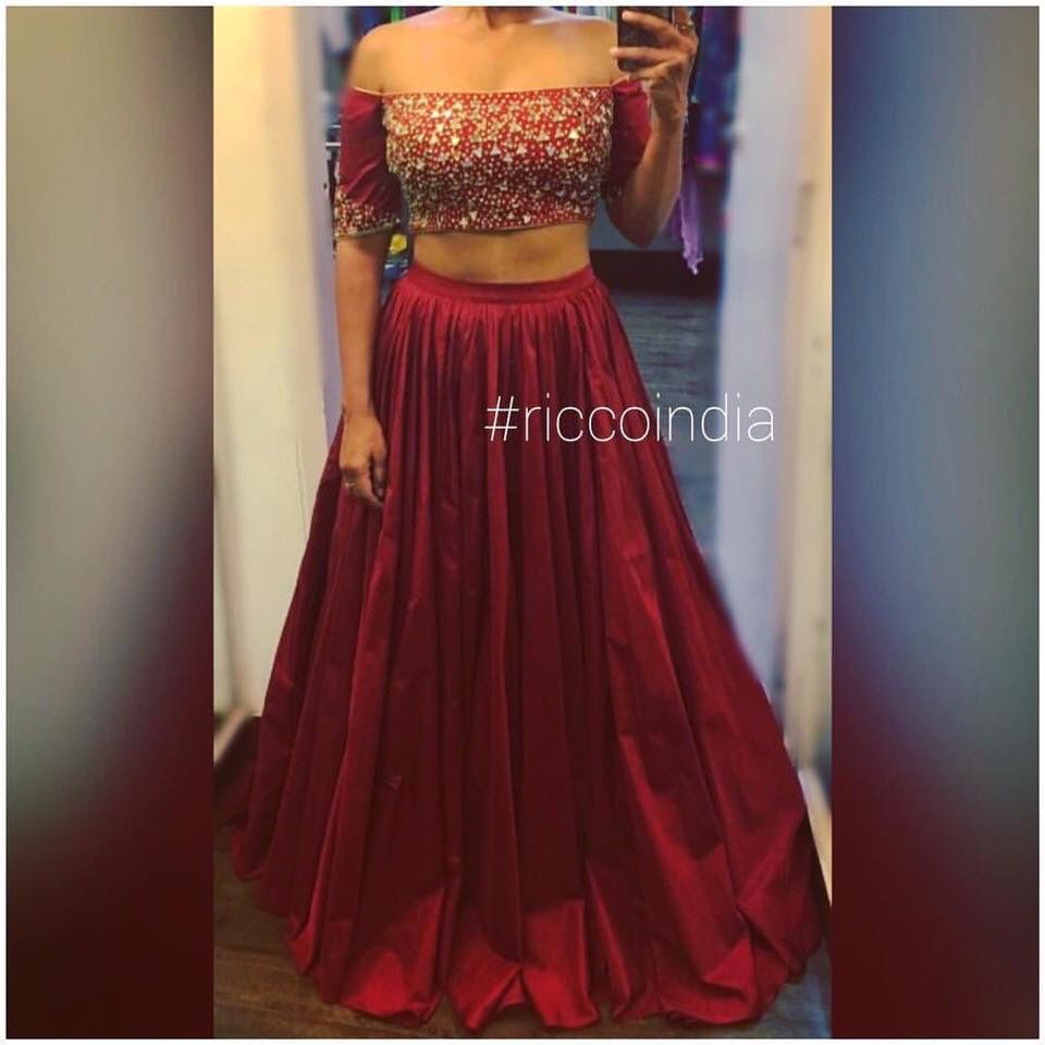 5f5f86c32 Mirrorwork off shoulder croptop with meharoon flared skirt | Ricco ...