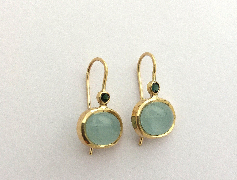 563e78091ea90 Gold earrings, 14k Drop earrings, Aquamarine earrings, Gold Boho ...