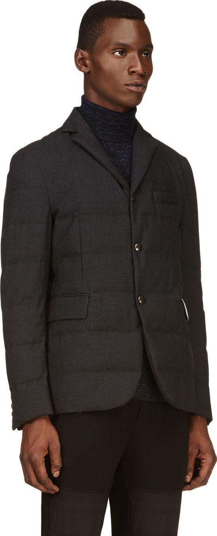 Moncler Gamme Bleu Black Crosshatched Quilted Down Blazer