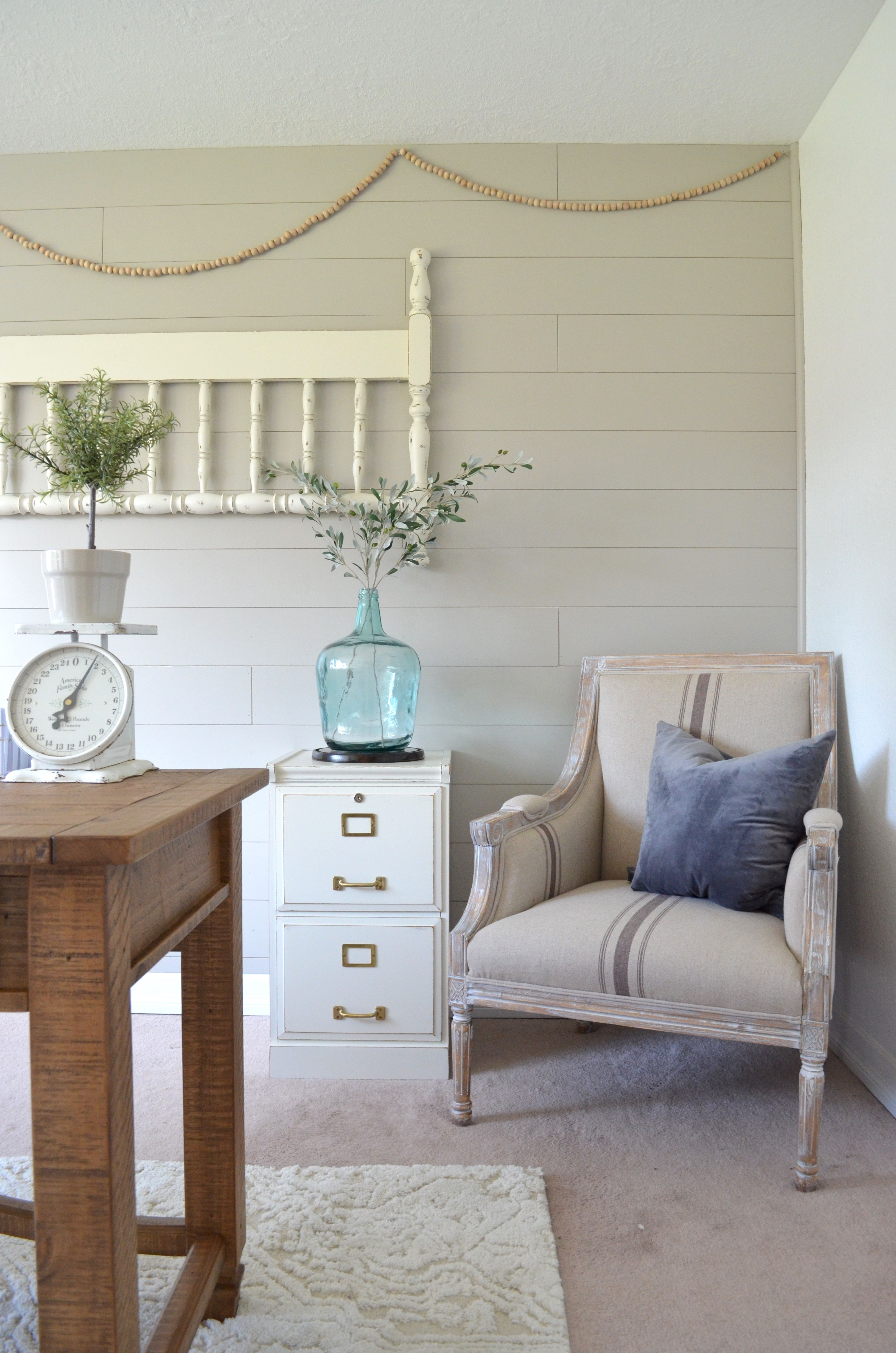 neutral office decor. Wood File Cabinet Makeover. Neutral Home Office. Farmhouse Office Decor. Shiplap Wall. Diy Decor H