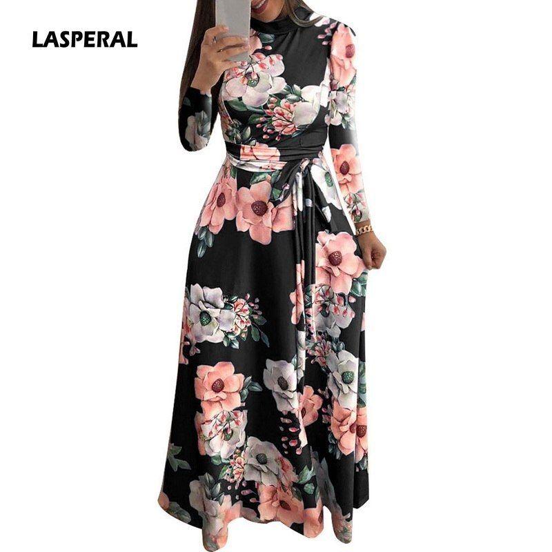 97259760501 Lasperal 2019 Long Dress Floral Print Boho Beach Dress Tunic Maxi Dress  Women Evening Party Dress Sundress Vestidos De Festa