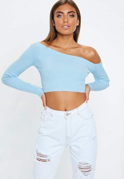 1bcd7b4c816 Missguided Blue Ribbed Cropped One Shoulder Knit Top   Products ...