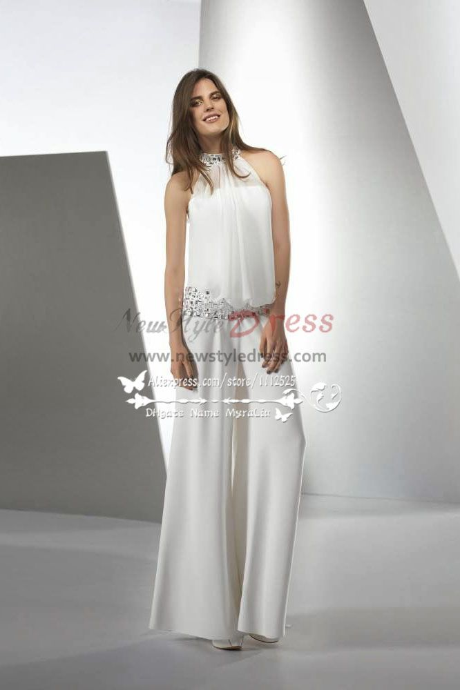 Modern elegant jumpsuit wedding dresses with glass drill for Wedding dress pant suits