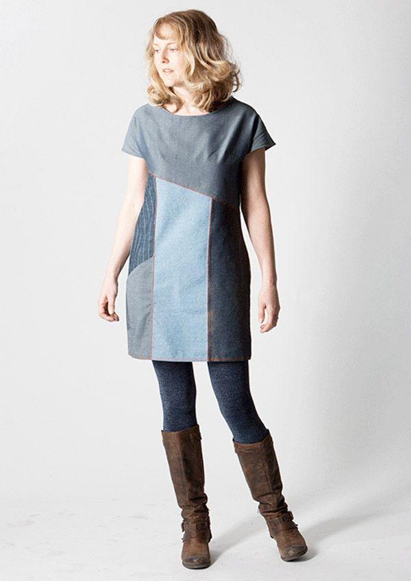 Patron gratuit : la robe Essential color block en jean | kostura ...