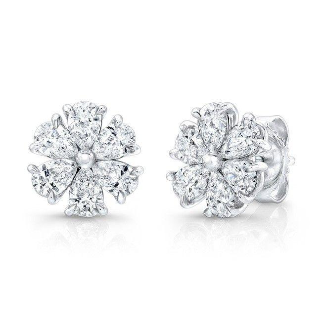 Pear Shape Diamond Flower Studs set in 18k White Gold.