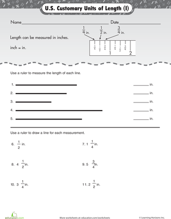 Units of Measurement: Inches | Worksheets, Math ...