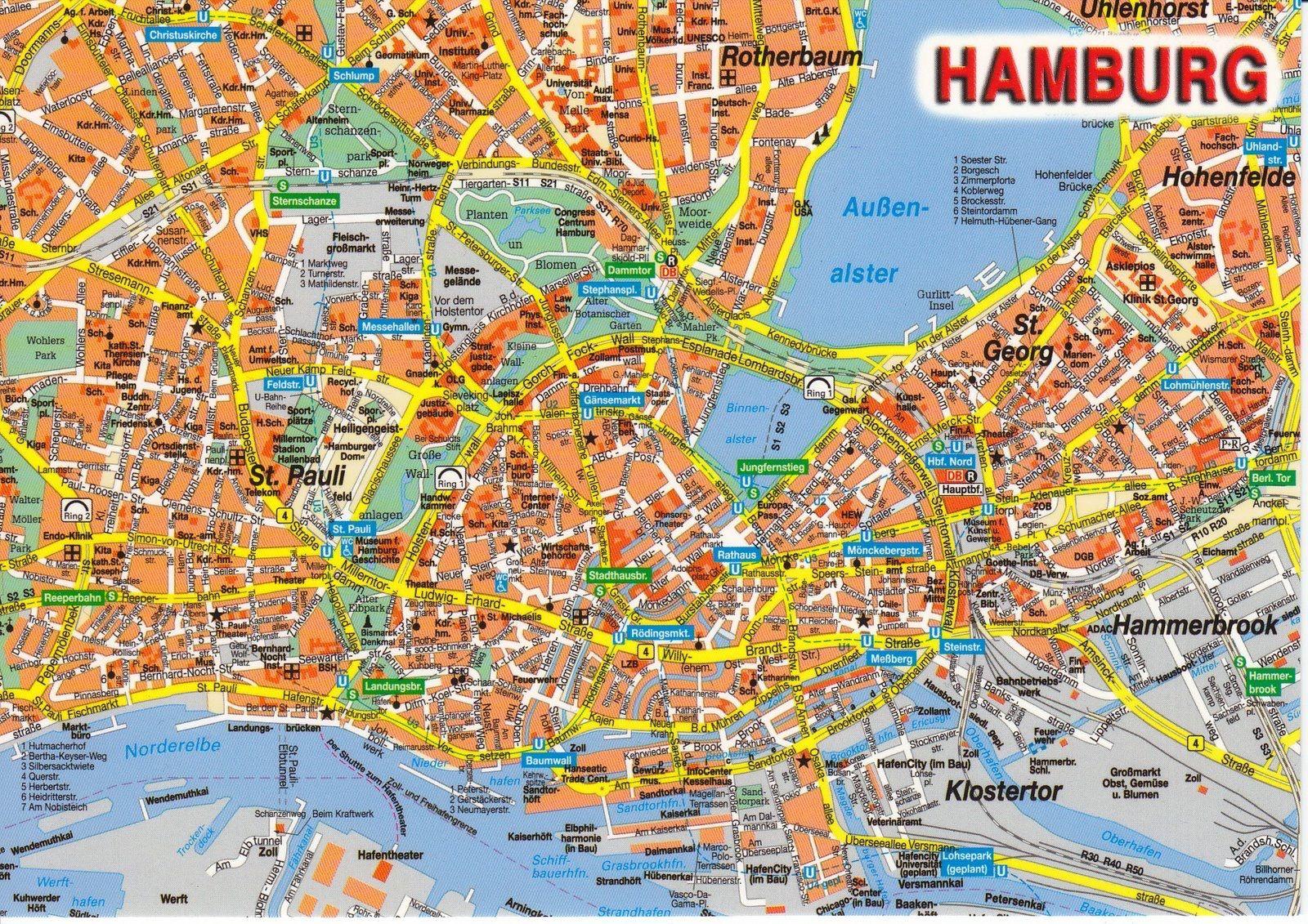 Landkarte Hamburg Hamburg Stadtplan Hamburg Hamburg Map
