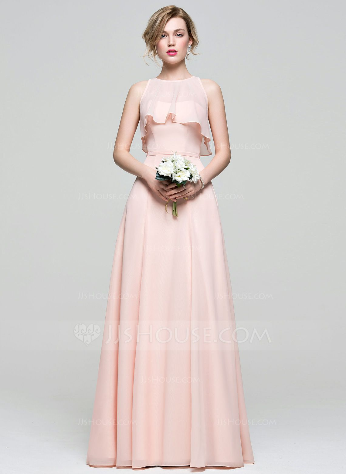 acfadd27c04 A-Line Princess Sweetheart Floor-Length Chiffon Bridesmaid Dress ...