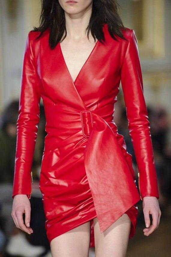 Handmade Women's lamb Skin Leather Dress , Leather