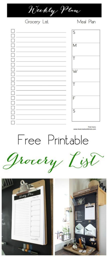 Free Grocery List Printable is part of Grocery list printable, Grocery list printable free, Free grocery list, Grocery list organization, Grocery list template, Grocery lists - Grab this sleek free grocery list printable  The perfect way to organize your weekly meal schedule and list your grocery needs