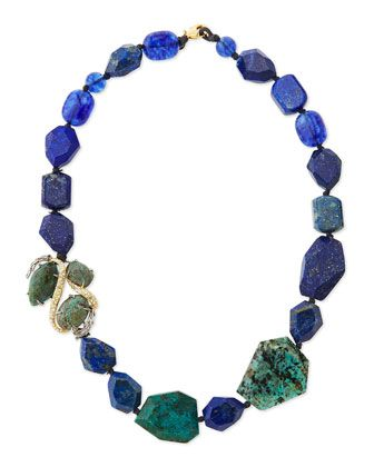 Single-Strand Blue Beaded Necklace by Alexis Bittar at Neiman Marcus.