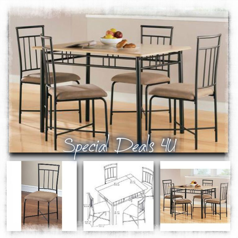 Dining Room Set Table Chairs Modern Kitchen Wood Metal