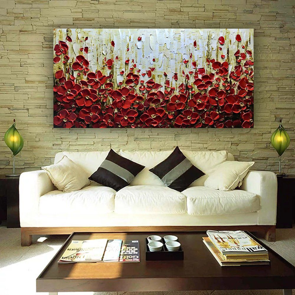 Amazon Com Metuu Modern Canvas Paintings Texture Palette Knife Red Flowers Paintings Abstract Wall Art Living Room Modern Canvas Painting Home Decor Wall Art