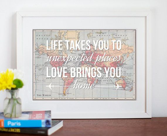 World map poster world map print love quote map of the world map poster map quote wanderlust poster travel world map love wedding gift 30x40cm poster map of the world print romantic quote gumiabroncs Gallery