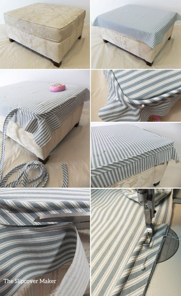 Ottoman Slipcover Fit Tips | home repair | Pinterest | Costura ...