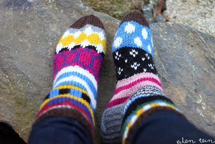 eilen tein: MARISUKAT.   I love these colourful socks. Pinning them for inspiration. (photos + text in Finnish)