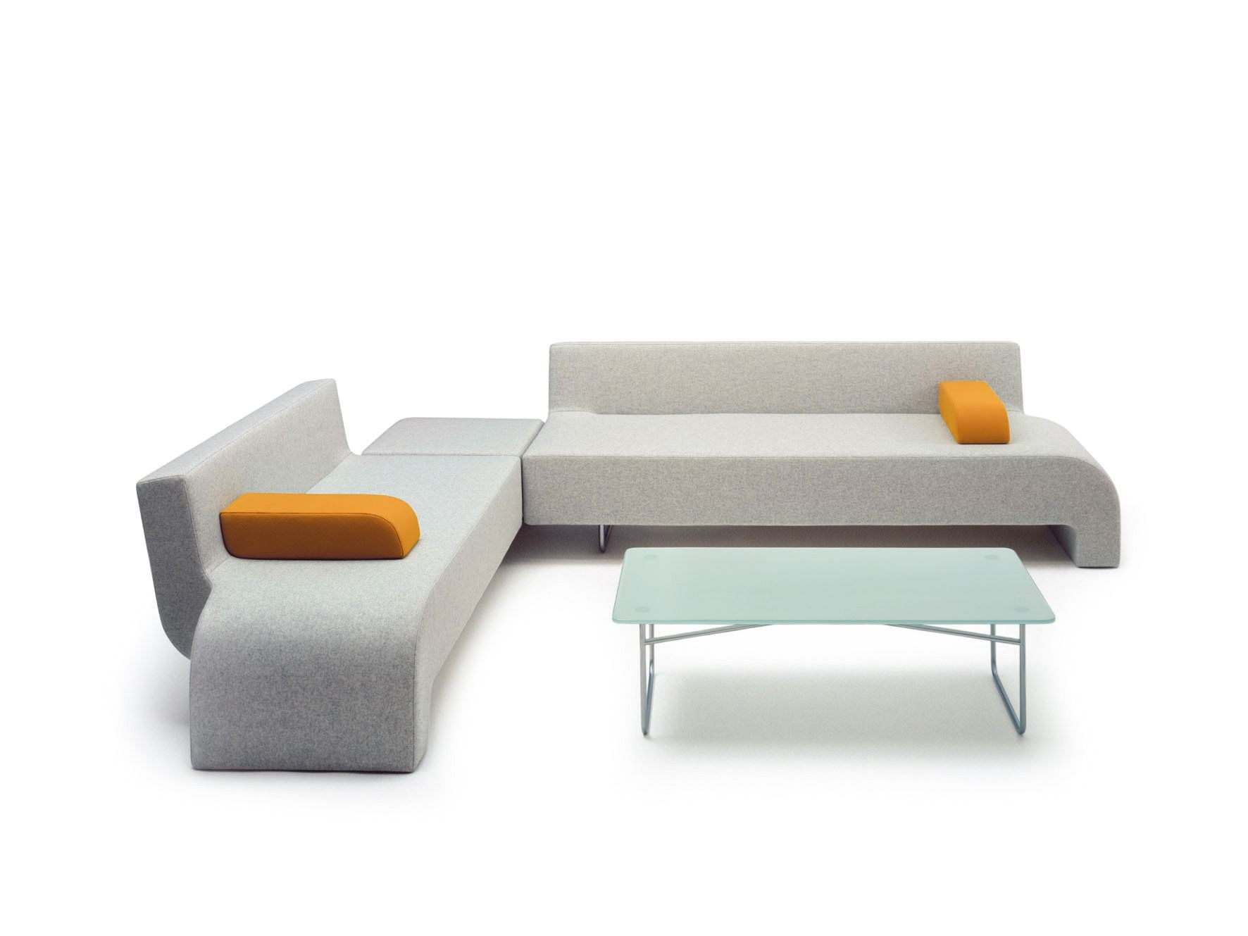 30 Grey And Orange Corner Reception Sofa