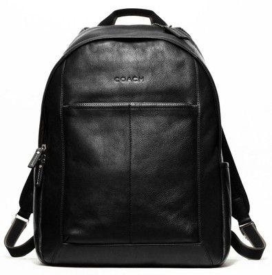 COACH BLACK LEATHER HERITAGE WEB LAPTOP BACKPACK