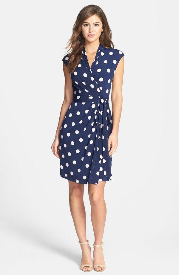 Eliza J Polka Dot Jersey Faux Wrap Dress Regular Petite Nordstrom Wrap Elbise Elbise Modelleri Elbise