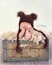 Crocheted Light Brown Fuzzy Teddy Bear Hat size Newborn SALE 50/% OFF SALE