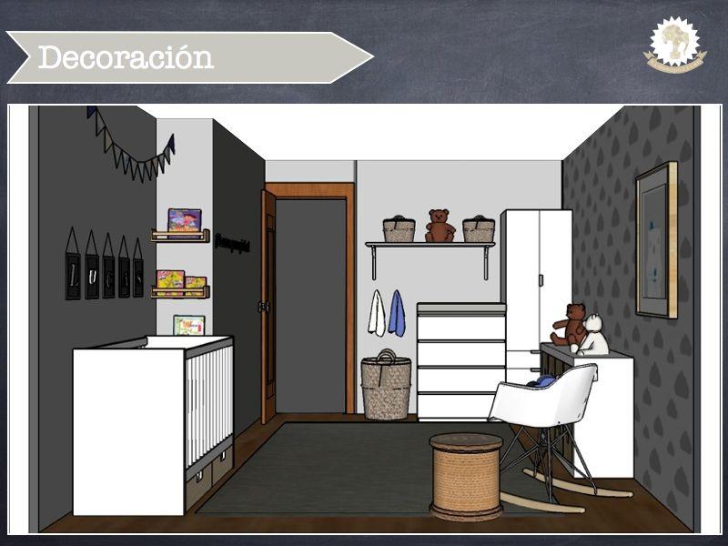 Habitación para bebé recién nacido en azules y grises con muebles de ...