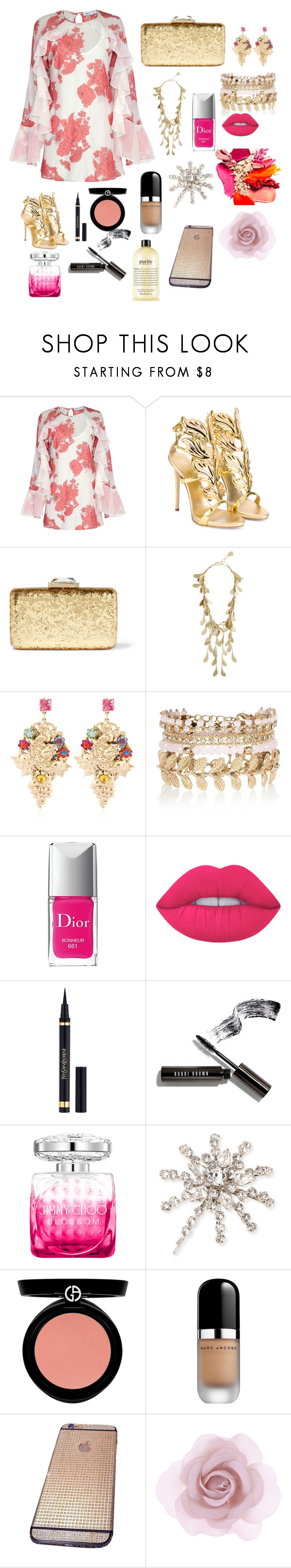 """""""Roses and Gold"""" by teresalcaine ❤ liked on Polyvore featuring Alice McCall, Giuseppe Zanotti, KOTUR, BCBGMAXAZRIA, Halo & Co., River Island, Christian Dior, Lime Crime, Yves Saint Laurent and Bobbi Brown Cosmetics"""