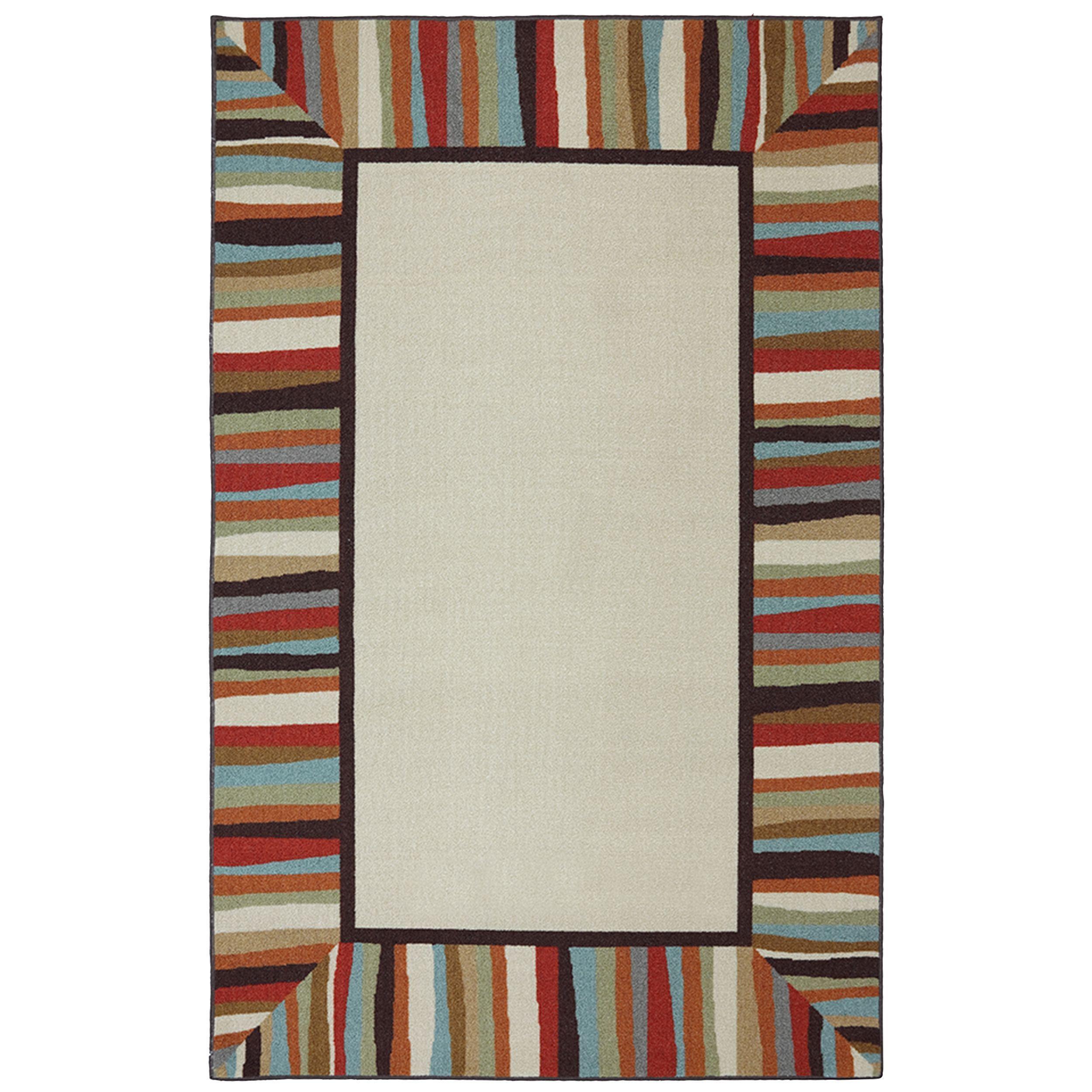 Mohawk Home Printed Indoor/ Outdoor Patio Border Rainbow (5u0027 X 8u0027)  (bordered 5x8), Ivory, Size 5u0027 X 8u0027