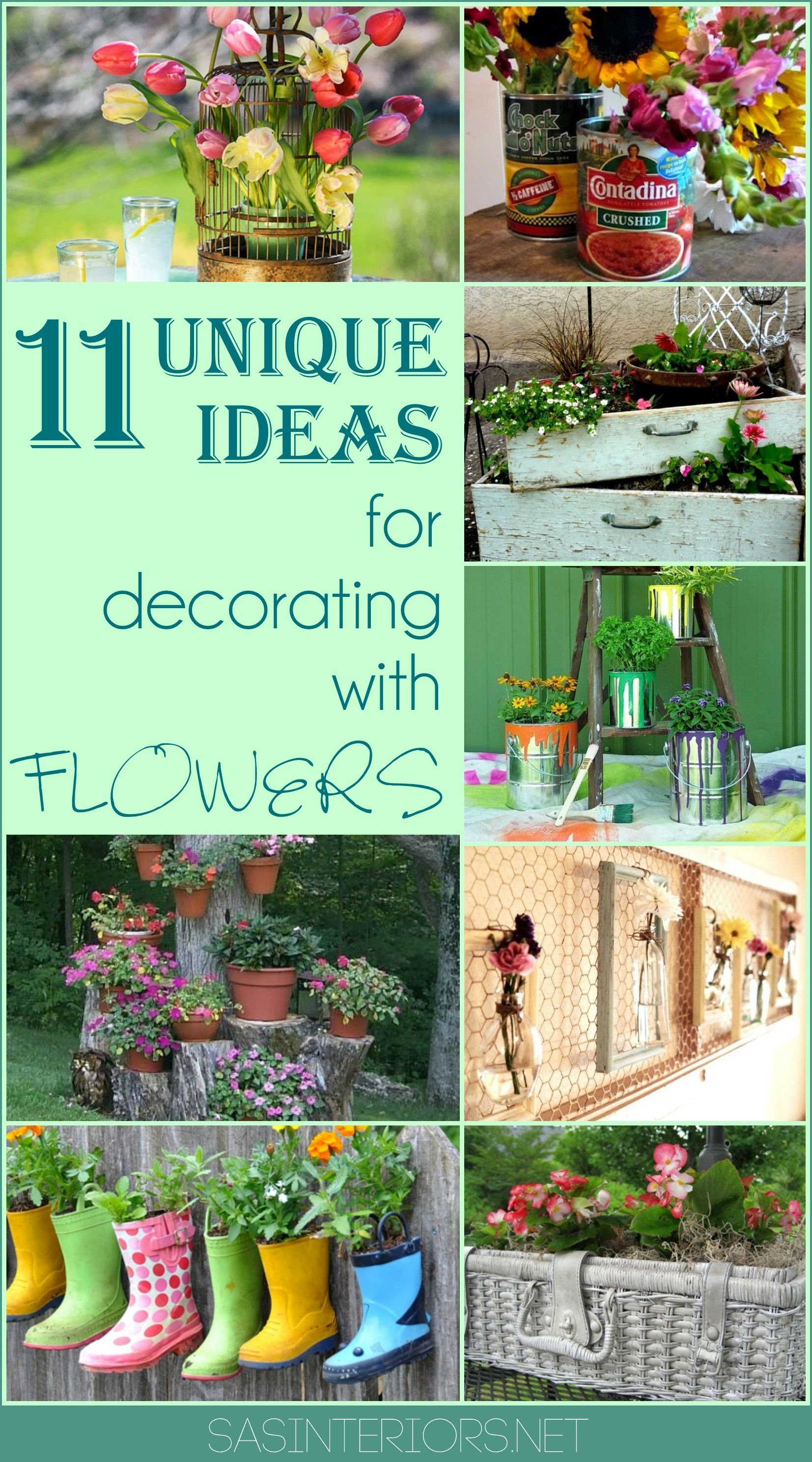 11 Unique + Creative Ideas for Decorating & Displaying Flowers; So ...
