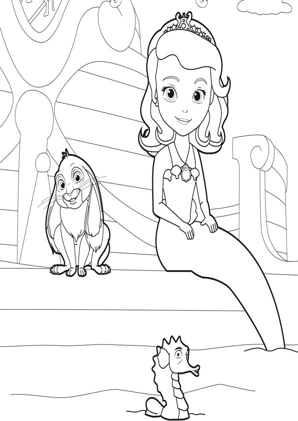 Princesita Sofia sirena dibujo para colorearPrincesita Sofia sirena ...