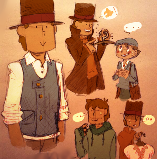 Layton wearing the clothes from that one puzzle with the question mark hanger...