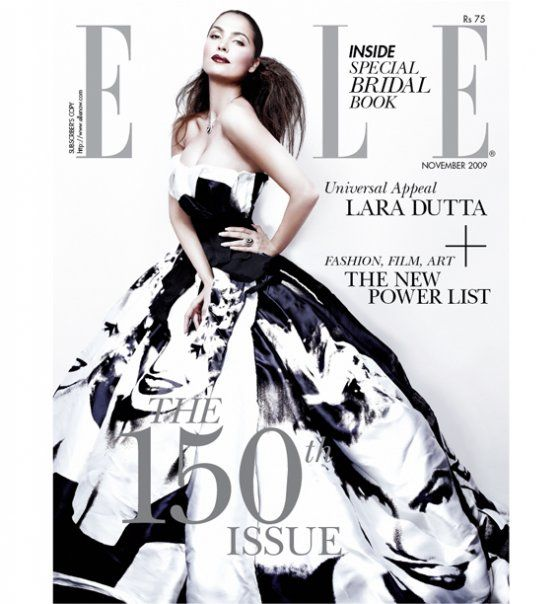 Lara Dutta in Elle Nov 2009. The Dolce and Gabbana Marilyn print gown is the highlight of the cover! The styling is perfect! Love it! <3