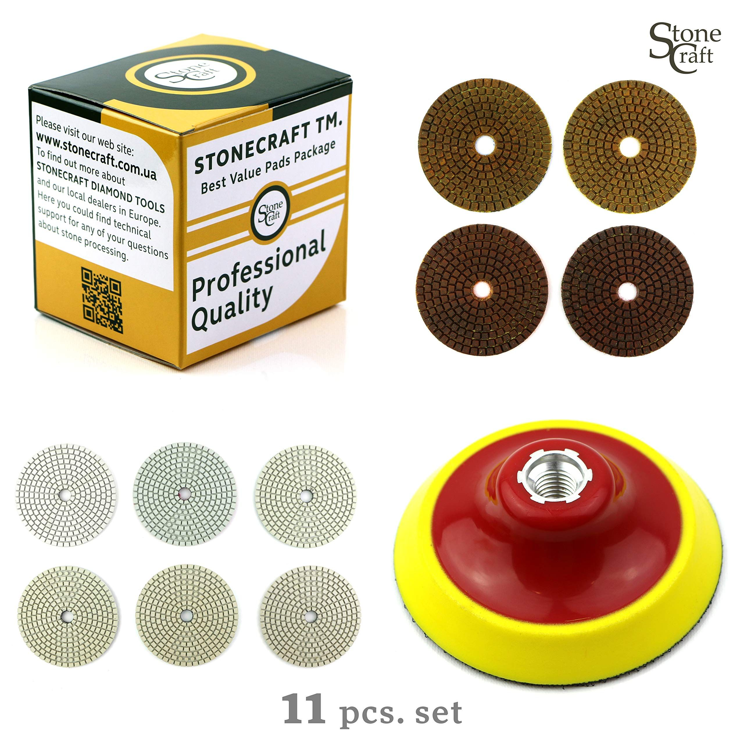 Foam Backing Pad for Granite Marble Concrete 4 inch Wet//Dry 11 Piece Set with White Buff StoneCraft Diamond Polishing Pads