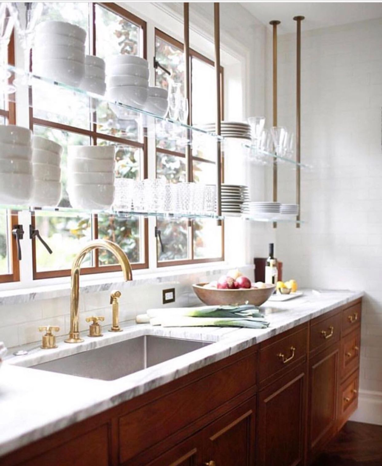 Waterworks Kitchen Glass Shelves In Front Of Window Instead Of