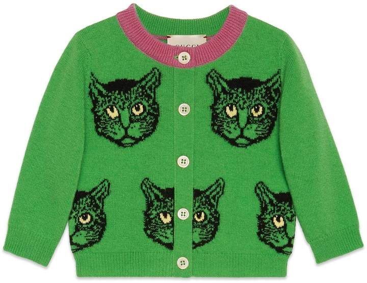8eb9a16ae Gucci Baby Mystic Cats wool cardigan | Gucci cats | Gucci kids ...