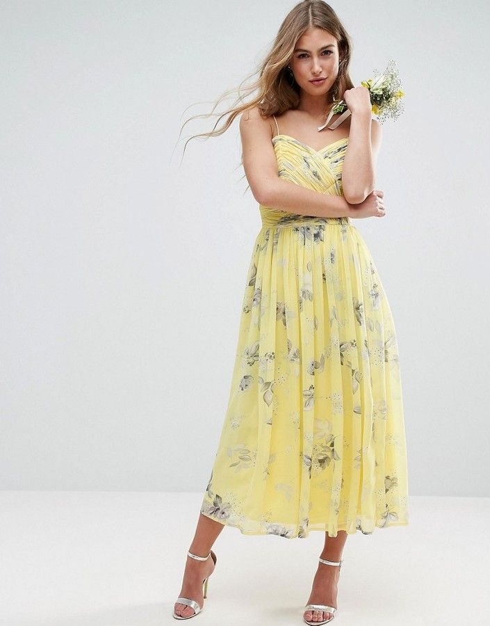 f08eed412eb Asos WEDDING Rouched Midi Dress in Sunshine Floral Print