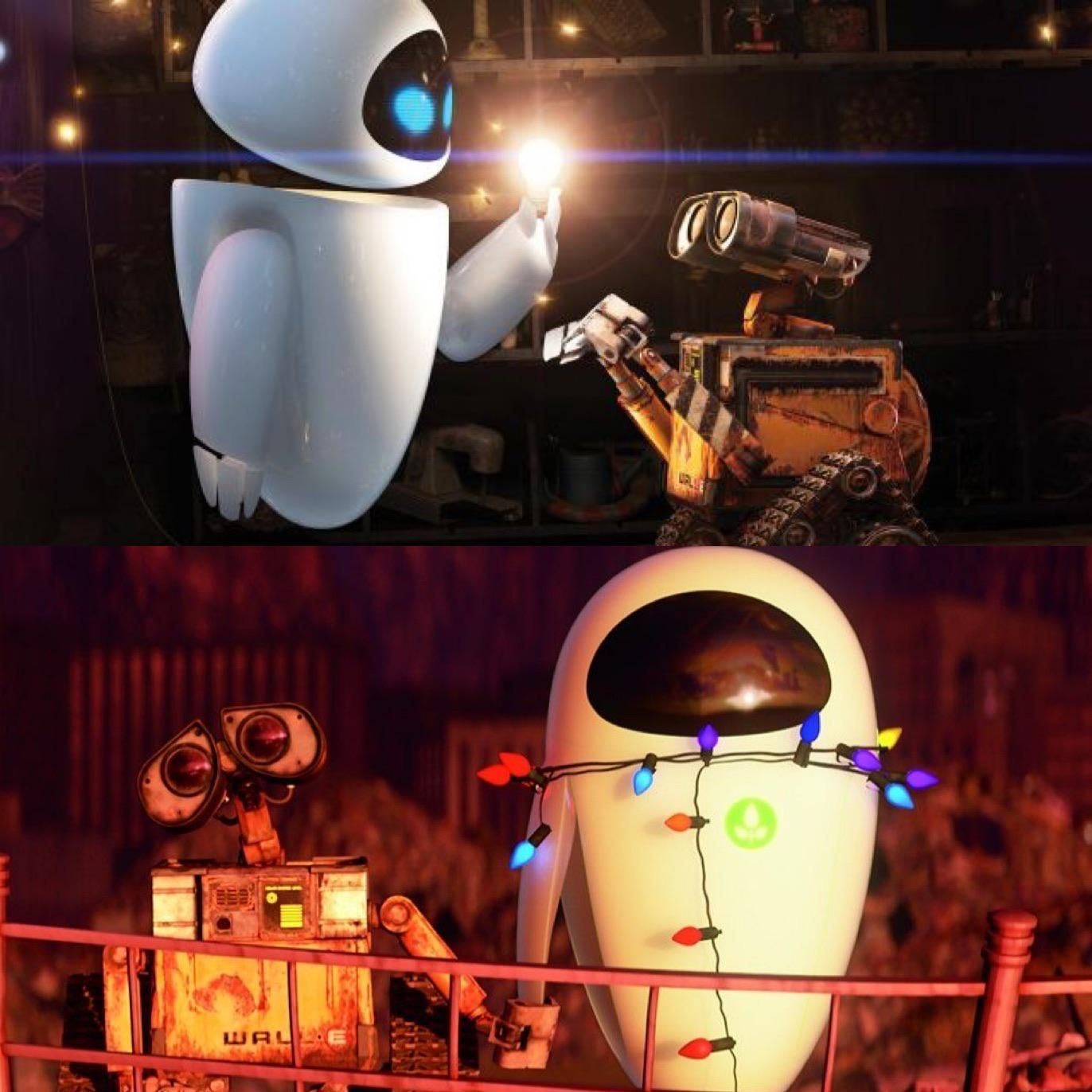 In Wall E 2008 Eve Holds A Light Bulb And It Illuminates By Her Touch When Wall E Moves Her Around With Christmas Lights The Wall E Movie Wall E Wall E