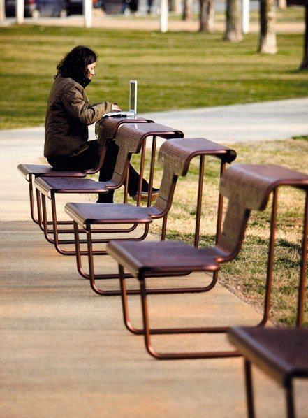 Multifunctional Chair Desk Designed By Alfredo Haberli Stadtpark Design Stadtmoblierung