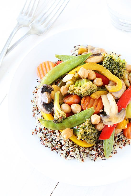 Easy Chickpea Vegetable Stir Fry Recipe on twopeasandtheirpod.com This easy and healthy stir fry recipe is perfect for busy weeknights! #vegetablestirfry