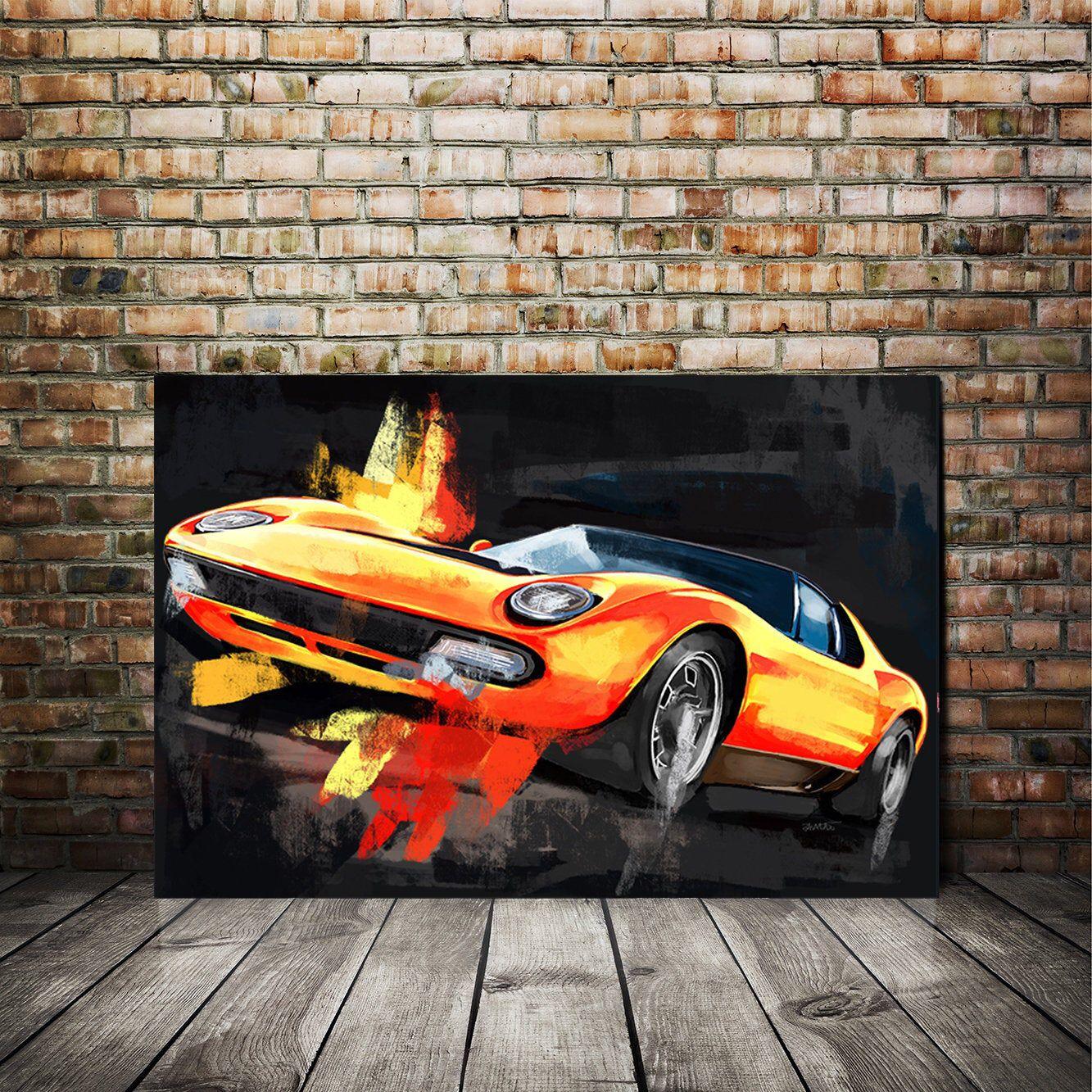 Lamborghini Miura Classic Car Large Wall Art Canvas Print Or Etsy Automotive Art Classic Cars Large Wall Art