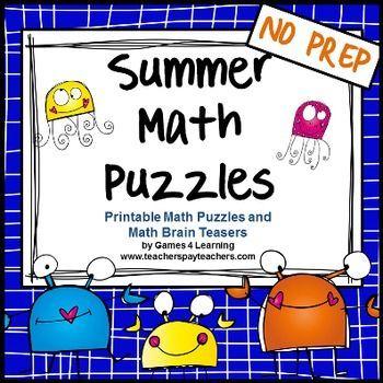 Summer Math Puzzles | Math, Math skills and Equation