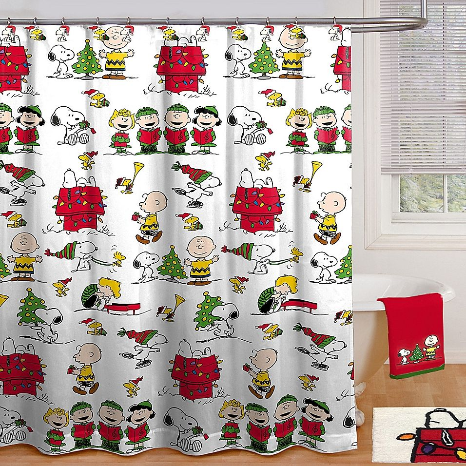 Peanuts Holiday 70 X 72 Shower Curtain With Hooks Multi With Images Holiday Shower Curtains Christmas Bathroom Christmas Shower Curtains