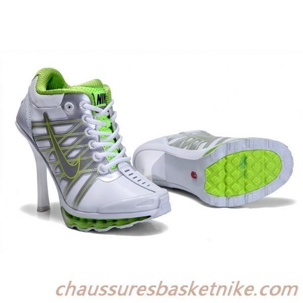 big sale 77051 b4621 Femmes Nike Air Max 2009 Talons Hauts Blanc Argent Vert