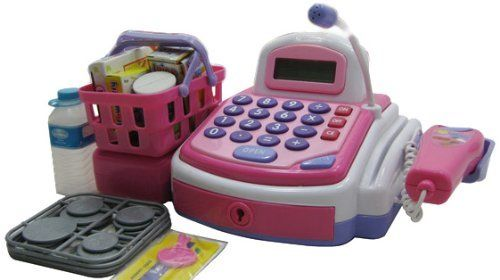 WeGlow International Electronic Cash Register Play Set (Pink) by WeGlow International. $33.58. Working scanner. Pretend credit card machine. Shopping basket with pretend food. From the Manufacturer                This cash register play set is great for giving your child that fun trip to the store, without leaving the house. He/she will have everything they need to have an imaginary day at the grocery store. This item is recommended for chilren ages 3+.. Save 12% Off!