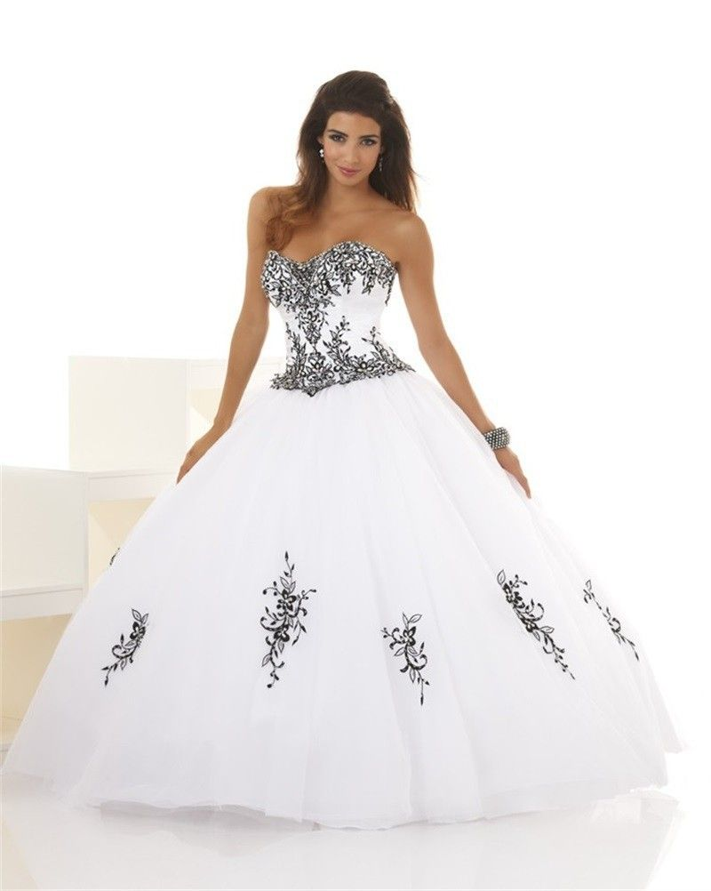 be4c4d49ba0 New Arrival 2017 Quinceanera Dresses Black And White Ball Gown Sweetheart  Appliques Long Dress For 15