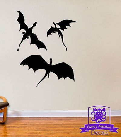Three Dragons Wall Decal Decor Inspired by by Game of Thrones.  Perfect for our Medieval Halloween Game of Thrones Gathering Party Theme & Decorationg Ideas