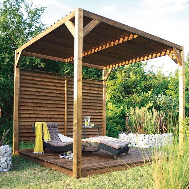 Pergola Castorama Pergola en bois avec toit paresoleil